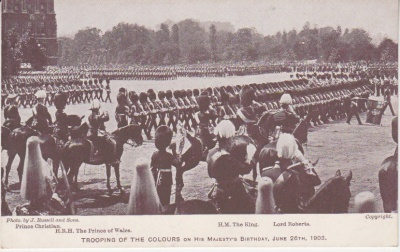 J Russell & Sons / G Smith Postcard - Trooping of the Colours on his Majesty's Birthday, June 26th, 1903