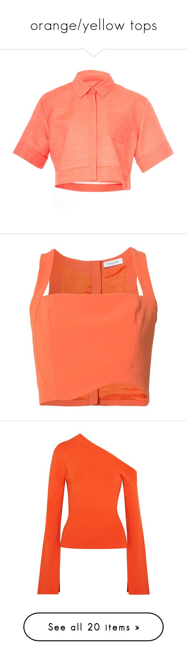 """orange/yellow tops"" by mrstomlinson974 on Polyvore featuring tops, pink, short sleeve shirts, red top, short sleeve collared shirts, collared crop top, red shirt, orange crop top, crop top and cut-out crop tops"