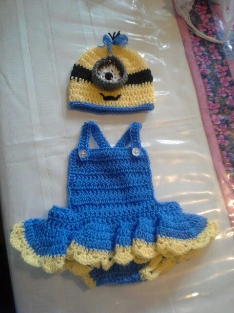 Crochet Baby Girl Minion Outfit