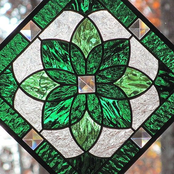 emerald green stained glass | Emerald Green Stained Glass Starburst Beveled by LivingGlassArt