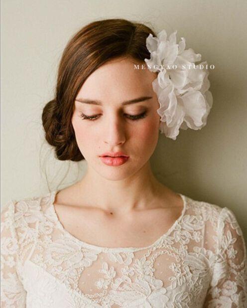 wedding party romantic white  voile flower headband bride high quality  yarn handmade hair jewelry bridal hair accessories