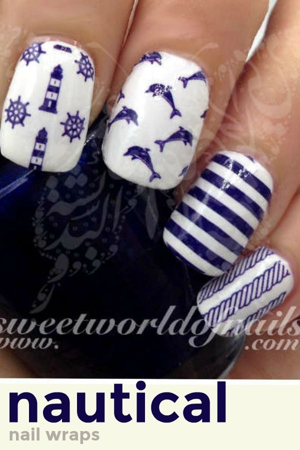 Nautical Nails Dolphin Lighthouse Stripes Water Nail Decals