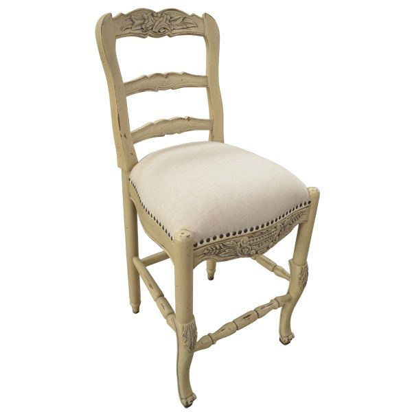 French Country Cream Bar Stool Painted Furniture Kitchen Counter Height Chair
