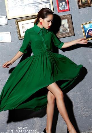 Vintage Green Backless Dress