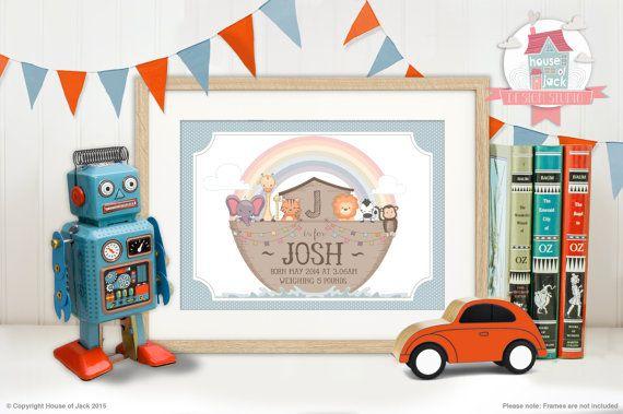 Personalised Art Print  Noah's Ark New Baby / by HouseofJackUK