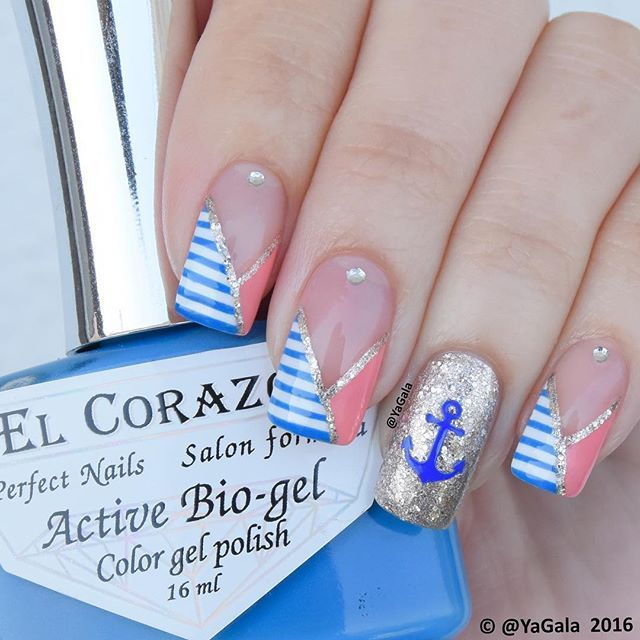 "⚓️Nautical nails Video on my YouTube channel, link is in my bio ⚓️Nail polishes:  El Corazon No.423 - base coat, El Corazon No.423/285, No.423/283 @el_corazon_art_direct ⚓️Anchor from @Whatsupnails . . ⚓️Дизайн ""Морячка"" Видео можно посмотреть, перейдя по ссылке в профиле ⚓️Лаки: El Corazon No.423 - base coat, El Corazon No.423/285, No.423/283 @el_corazon_shop ⚓️Якорь @whatsupnails"