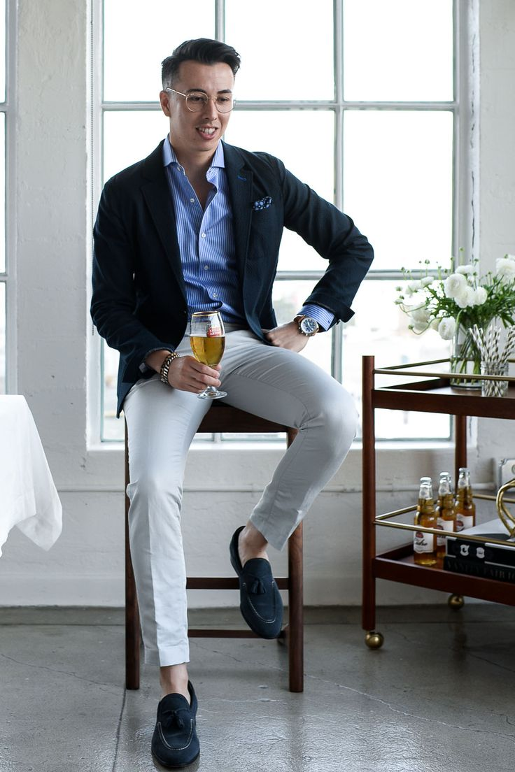 Navy blazer + striped dress shirt + tan pants + navy tassel loafers                                                                                                                                                                                 More