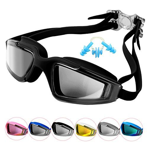 Unisex Adult Swim Goggles, No Leaking Anti-Fog UV Protection Professional Swimming Goggles For Youth Men and Women, Mirroed Lens And Wide Large Frame  The package includes 1 goggles, 1 goggles box, 1 Nose clip and 2 earplugs.  The goggles is highly efficiently Anti-fog, Anti-UV, Anti-impacting, Dust-proof and Waterproof.  The lens is made of Polycarbonate and Electroplated. Silicone eye seals and gaskets are friendly to skin.  Flexible silicone frame make you feel comfortable and ensur...