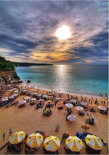 "View from Klapa, Pecatu district of South Bali's Bukit Peninsular, also called ""New-Kuta-Beach""."