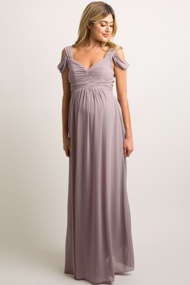 5d5480177061e Taupe Chiffon Pleated Open Shoulder Maternity Evening Gown   Dresses ...