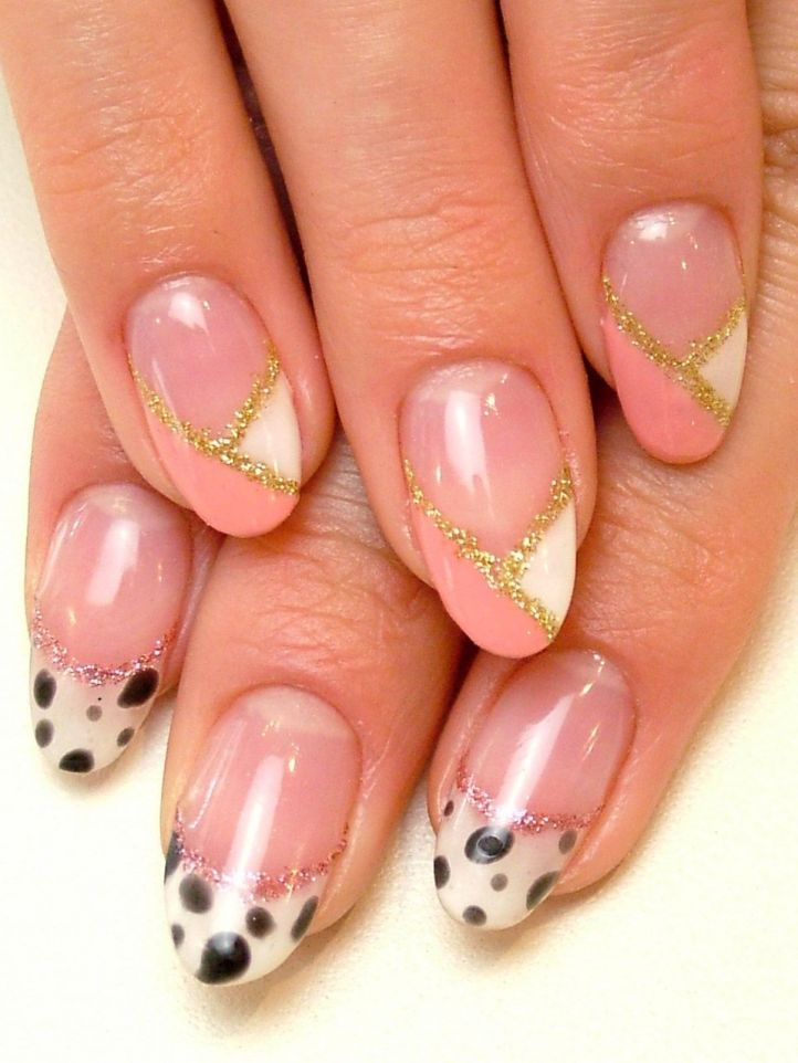 Double-tipped French manicure - bicolor white & peach french with gold rims