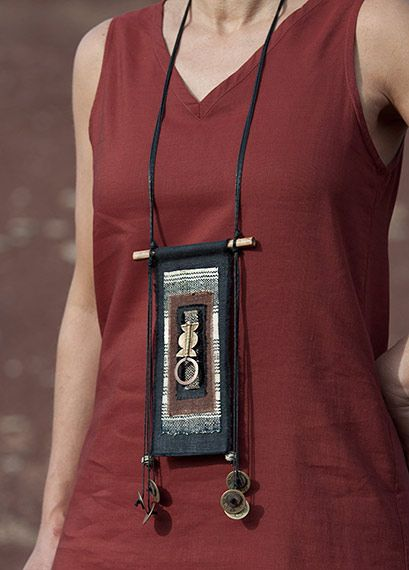 Fiber and bamboo necklace: linen, hand spun hemp from Minority people in Laos