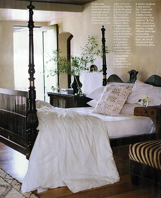Eclectic Bedroom. Love the Banyan wood bed & Zebra ottoman designed by Erin Martin Design