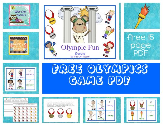 Olympic Fun and Vocabulary (free printable) by Carolyn at Wise Owl Factory at PreK + K Sharing: Summer Olympics, Olympics Games, Olympics Activities, Olympics Theme, Free Summer, Olympics Fun, Letters Oo Olympics, Free Printable, Jeux Olympiques