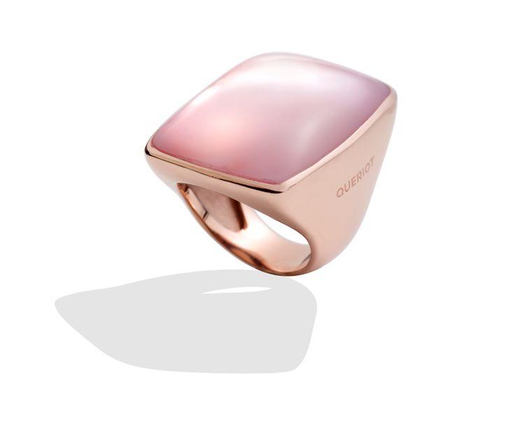 Anello oro rosa e quarzo milky queriot ring rose gold jewellery gioiello fashion luxury