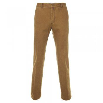 A classic mustard tailored fit casual chino. The fabric is a soft cotton canvas with a small % of stretch, making this a very comfortable trouser. Features include - zip fly, contrast stitching detail, narrow belt loops, a finished hem, side pockets and double jett button hip pockets, Magee leather tab at the back and gooffer loop.