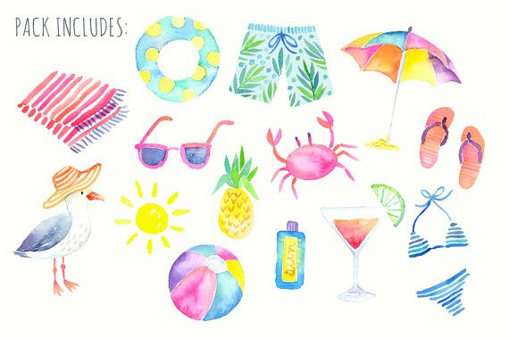 Sommer Aquarell Clipart Strand Grafiken   – accesorios