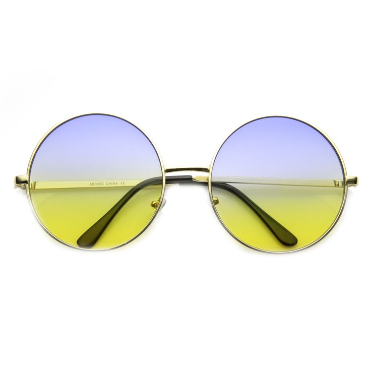 Women's Retro Hippie Oversize Round Sunglasses With Colorized Gradient   zeroUV