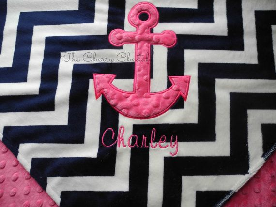 Personalized Baby Blanket 30x35, Anchor Baby Blanket, Nautical Blanket, Minky Baby Blanket, Made to Order on Etsy, $45.00