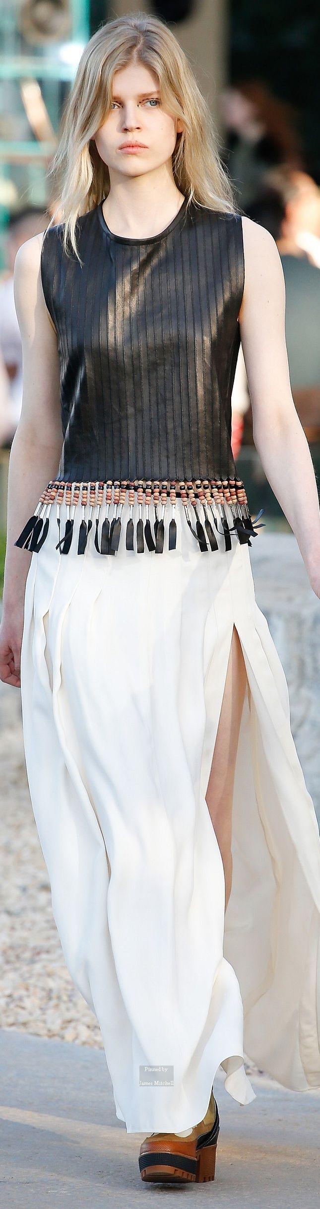 Louis Vuitton ~ Black Textured Leather Sleeveless Top w  Tassel Embellishment + White Maxi Skirt Pre Spring 2016