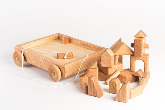 Wooden Toy Blocks Wagon Classic Wooden Toy by asummerafternoon, $65.00