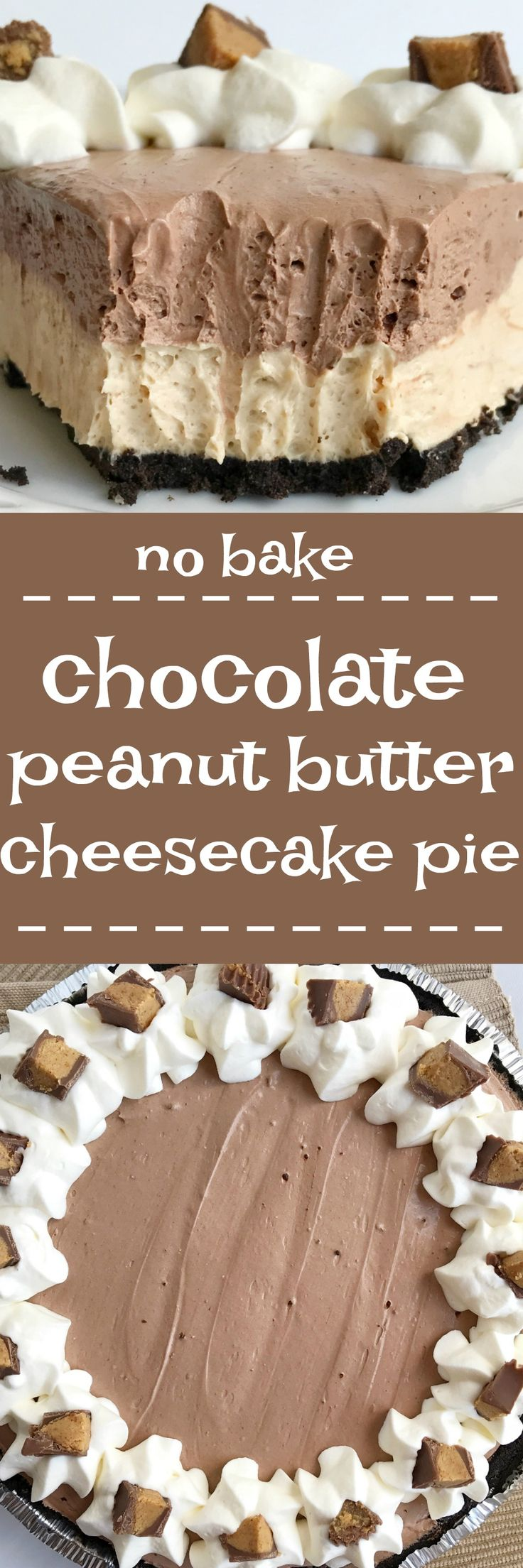 You won't believe how easy this {no bake} chocolate peanut butter cheesecake pie is to make! Uses a pre-made Oreo crust, filled with a creamy peanut butter cheesecake, and then topped with a layer of creamy chocolate cheesecake. Only takes minutes to make and it's a crowd favorite. This pie tastes just like a Reese's peanut butter cup.