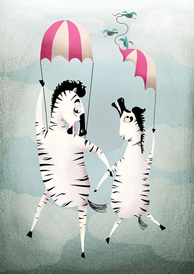 Courageous zebras, illustration by Adelina! #nordicdesigncollective #adelina #zebra #zebras #circus #flyingzebra #flyingzebras #poster #kidsroom #childrensroom #print #printforkids #printforchildren #parachute #sky #fall #falling #pink #stripe #striped #stripes #cloud #clouds #swedishillustrator
