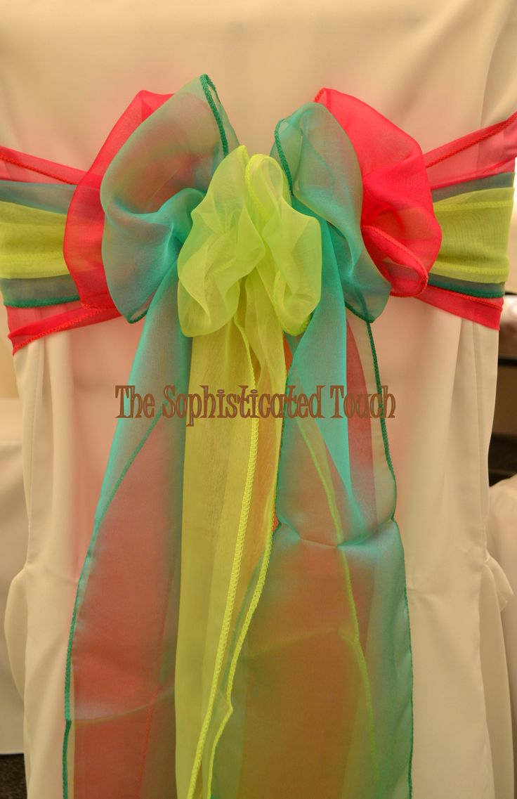 Fuschia, Jade Green and Neon Yellow Organza Bows on a White Chair Cover  The Sophisticated Touch ...Chair Covers by Design