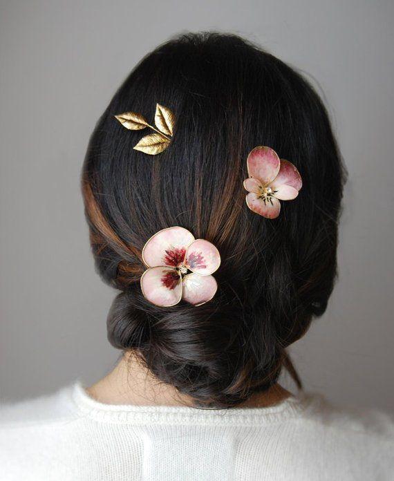 Alfinete de cabelo de flor de casamento, pansy e grampos de cabelo de folhas, pentes de cabelo de noiva floral, acessórios de cabelo de noiva   – Products