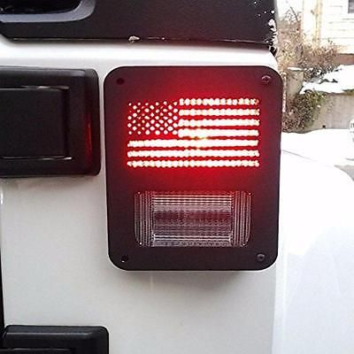 Pair 2007 - 2016 Jeep Wrangler Rear Taillight Cover Guard U.S. American Flag