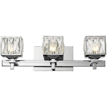 Illuminate your master bath or powder room in radiant style with this shimmering vanity light, featuring faceted crystal shades for a touch of glamour.