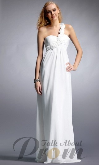 Floral One Shoulder White Long Prom Dress TPD152 [TPD152 ...