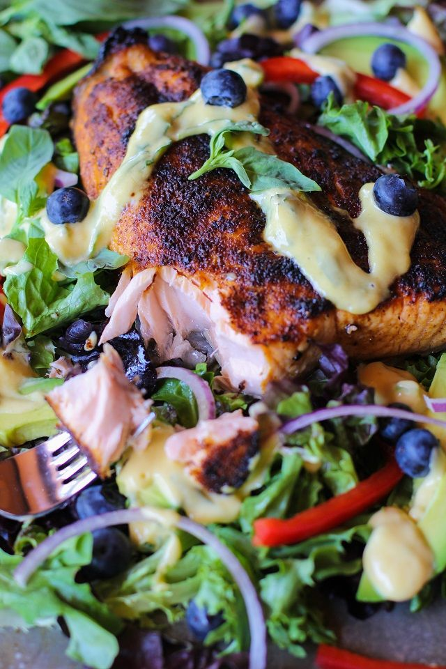 Crispy Jamaican Jerk Salmon with Mango-Basil Vinaigrette | theroastedroot.net #healthy #dinner #recipe