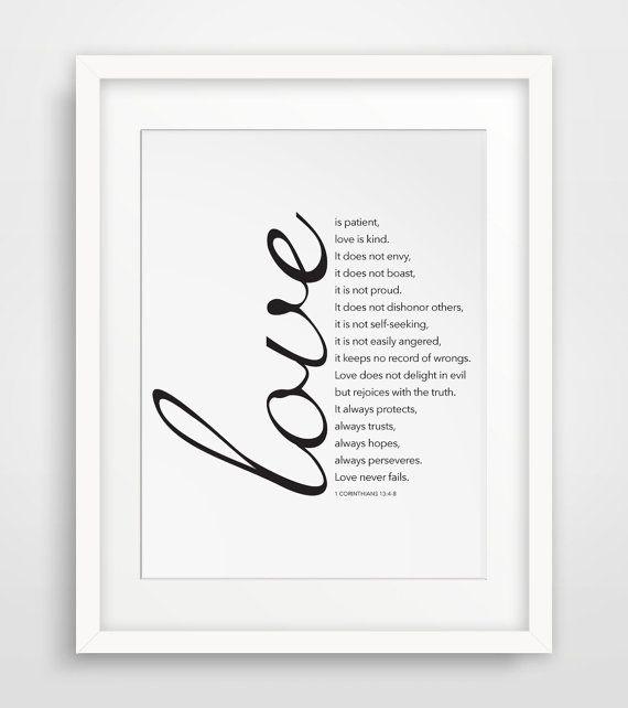 Wall Print Printable Art Art Printable Print by MelindaWoodDesigns #lovequote #printableverses #bibleprints