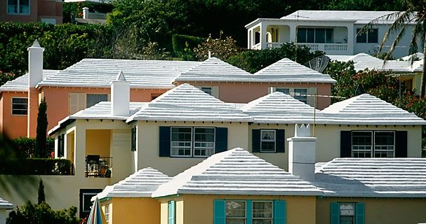 White roof Pink house; White roof White house; White roof Yellow house