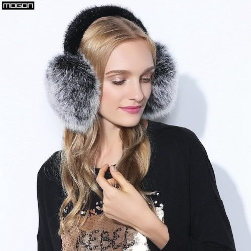 Cache Oreille Rushed 2016 Fashion Trend Winter Full Leather Natural Fox Fur Ear Muffs Thermal Girl Women's Earmuffs Package
