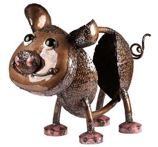 Earth De Fleur Homewares   Oink The Pig Large Metal Garden Art Brown