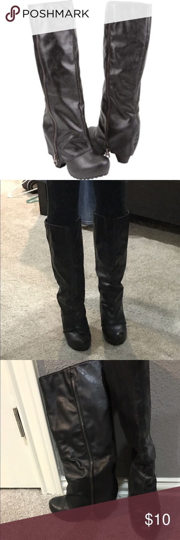Black Over the Heel Boots These are great going out boots - spice up any outfit and very comfy to walk in. They have been worn many times and have a few scoffs to prove that. Price reflects condition. Big Buddha Shoes Heeled Boots