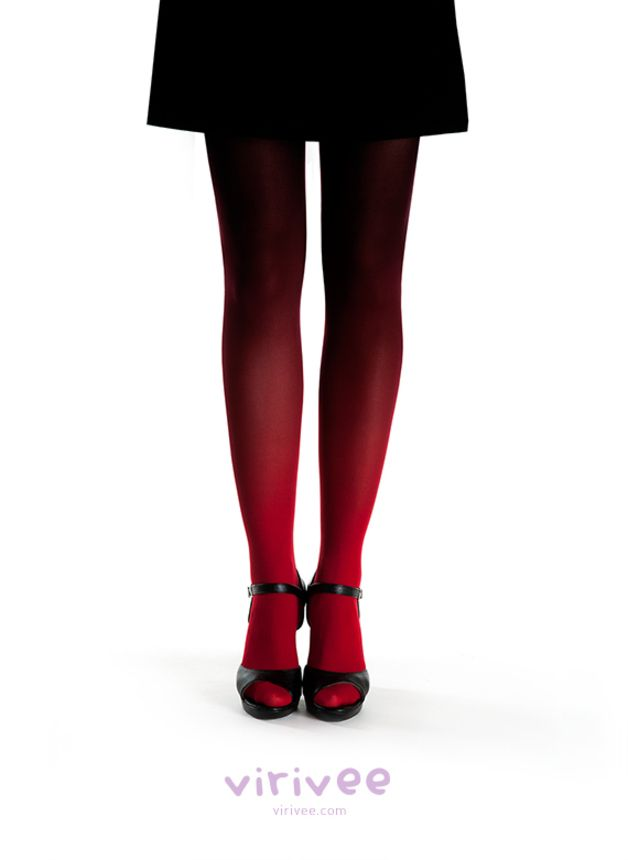 Schwarz Rote Strumpfhose mit Ombre Effekt / ombre tights in red and black made by Viviree via DaWanda.com