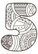 Number 5 Zentangle Coloring page