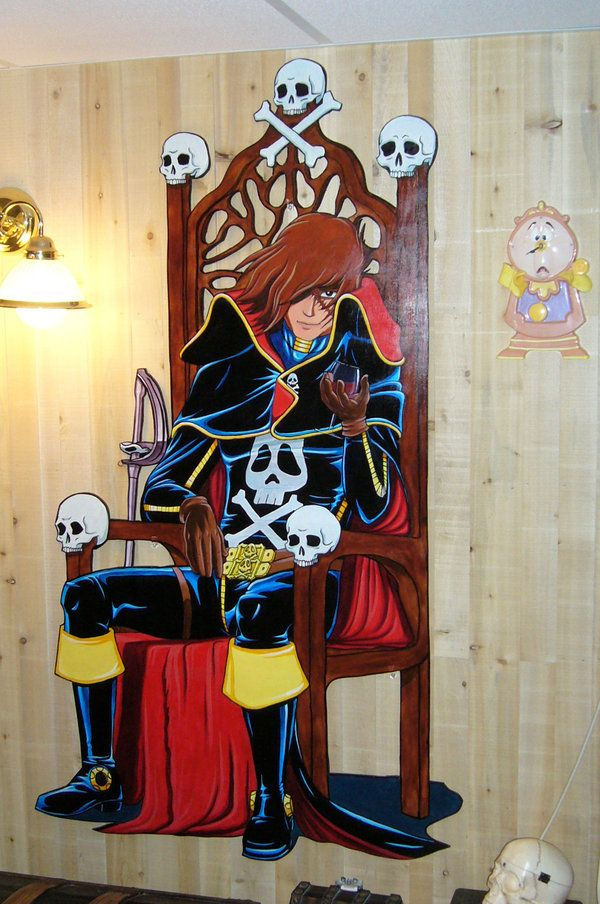 This Harlock mural is so cool...