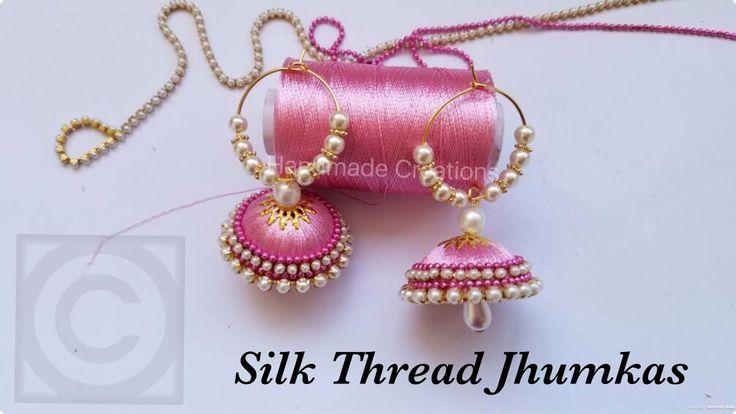 How To Make Silk Thread Jhumkas Hoop Style||Beautiful Pink jhumkas with ...