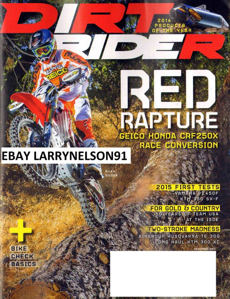 DIRT RIDER MAGAZINE DECEMBER 2014 RYAN DUDEK RED RAPTURE HONDA TEAM USA YAMAHA