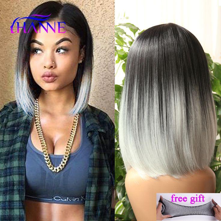 Peruklar Wigs Ombre wig black gray white mix color Afrian women short synthetic Wig two Tone Colored Light Grey Straight short bob cosplay Wig <3 Bu bagli bir çam AliExpress oldugunu.  Resmi tiklayarak teklifi AliExpress web sitesinde bulabilirsiniz.