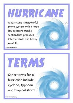 A set of 18 printable fact cards that give key and interesting facts about hurricanes. Teachers also have the option to use this set as a vocabulary word wall as each fact card has a keyword heading related to the fact and topic. Fantastic for discussions and introducing hurricanes!Buy this resource in a Bundle and SAVE OVER 20%:**Hurricanes Bundle Pack****Natural Disasters Mega Bundle Pack**You might also like our resources on: Natural…
