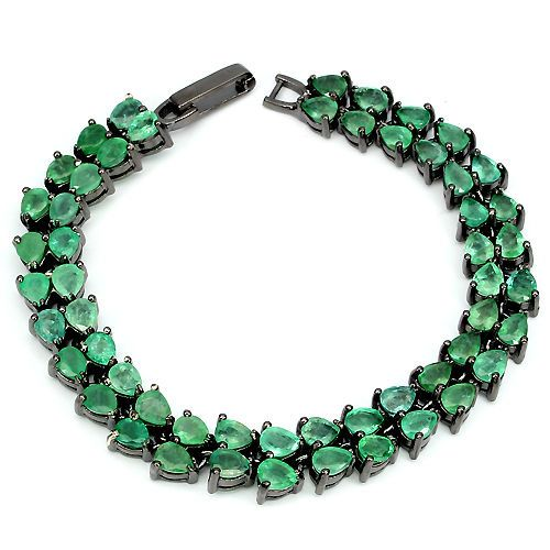 VERY RARE! REAL 5x4mm/54p GREEN EMERALD BLACK RHODIUM PLATED 925 SILVER BRACELET #Tennis