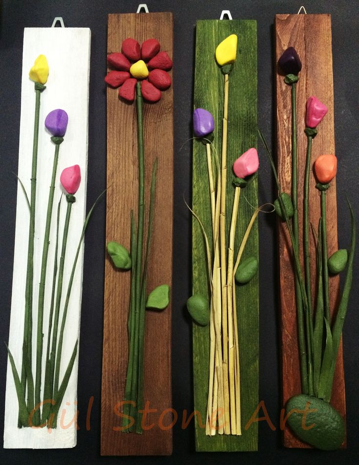 Blumen-Bilder auf Holz aus Stein / made with pallet - sprigs - Painted stones - branches idea /