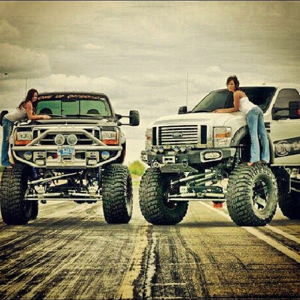 This is how my girls and i roll. Besties in lifted trucks. Big Ford Power Stroke Lifted Trucks