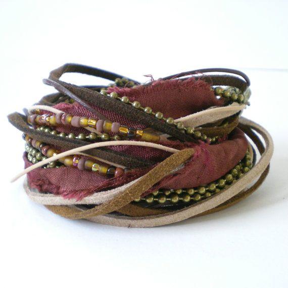brown wrap bracelet ribbon suede wrap bead wrap by jcudesigns, £21.00