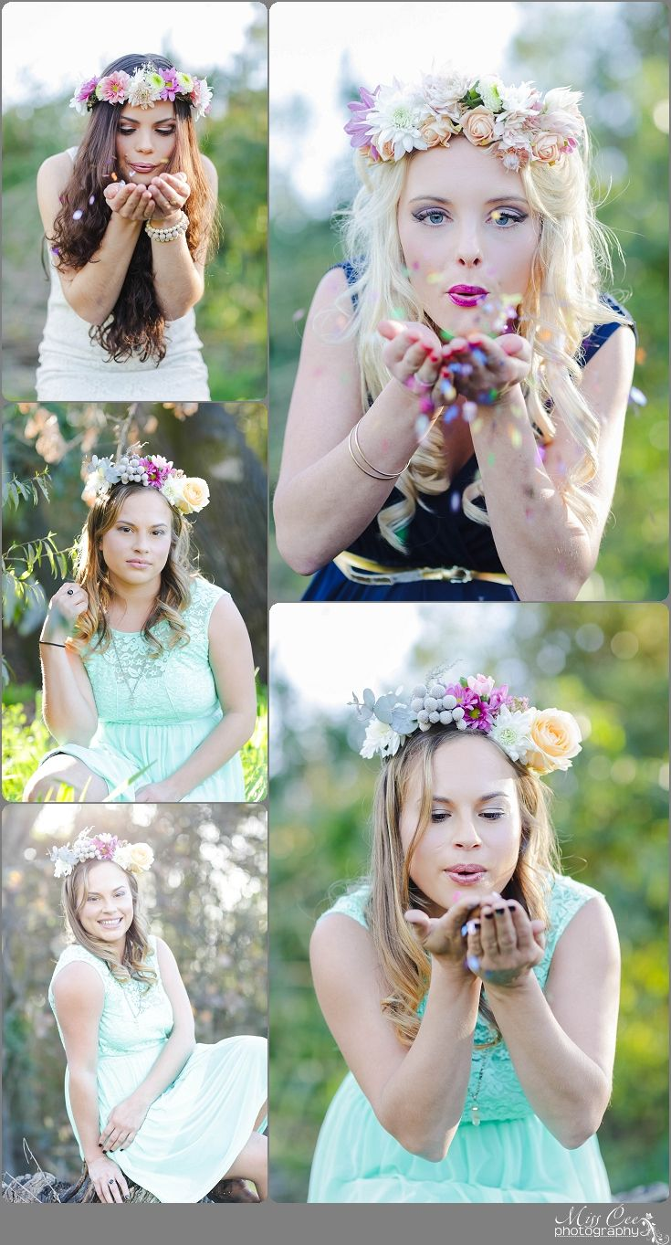 Dress, Long hair , Portrait , Girl Pose , Flowers , Make Up , Forest , Beauty Shoot , blowing glitter , flower crown